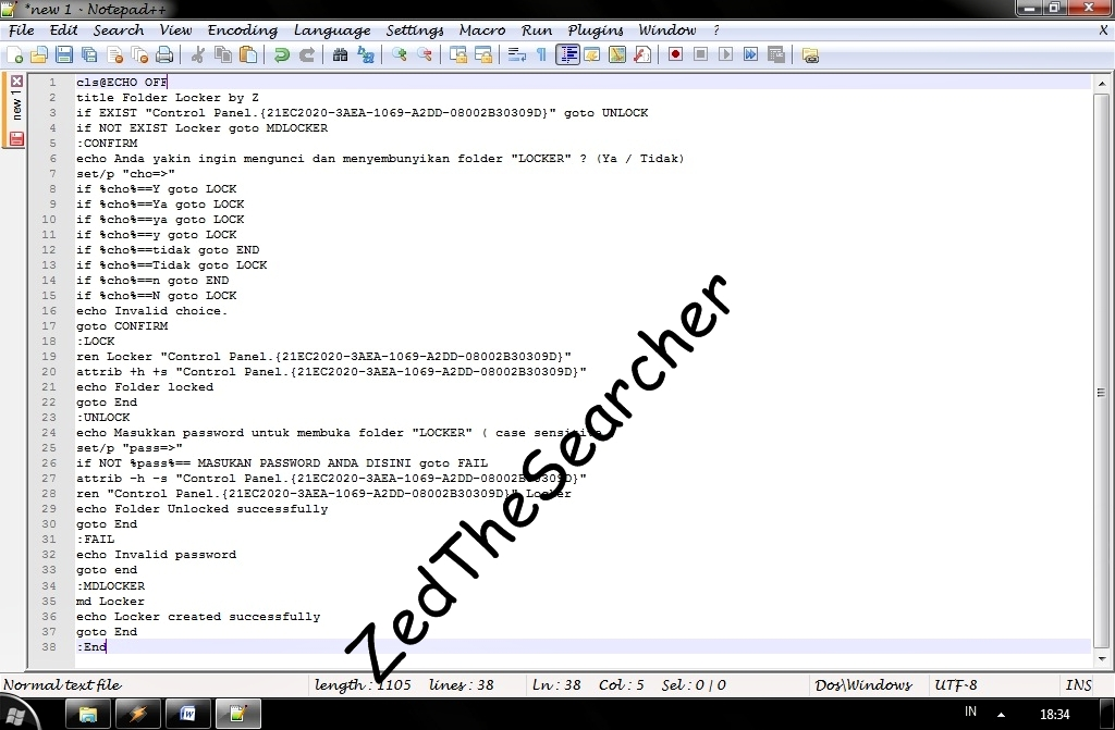 Hidding folder with Notepad   The Searcher